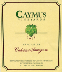 Caymus 2008 Label
